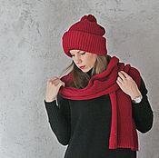 Аксессуары handmade. Livemaster - original item Hat and scarf Berry set. Handmade.