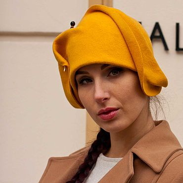Аксессуары ручной работы. Ярмарка Мастеров - ручная работа Головные уборы: Шляпа фетровая желтый нарцисс. Handmade.