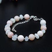 Украшения handmade. Livemaster - original item Women`s bracelet made of kacholong and pink opal