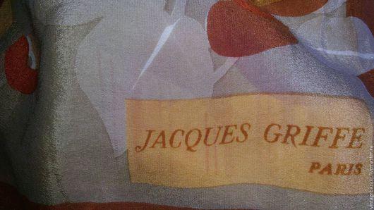 Винтажная одежда и аксессуары. Ярмарка Мастеров - ручная работа. Купить Шелковый шарф Jacques Griffe Париж. Handmade. Шелковый шарф