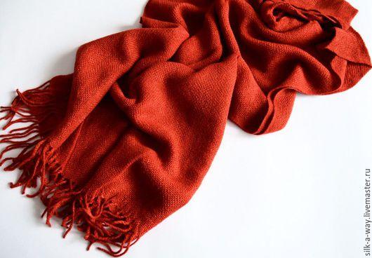 Шарфы и шарфики ручной работы. Ярмарка Мастеров - ручная работа. Купить Шарф теплый. Палантин терракотовый, рыжий.. Handmade. Рыжий