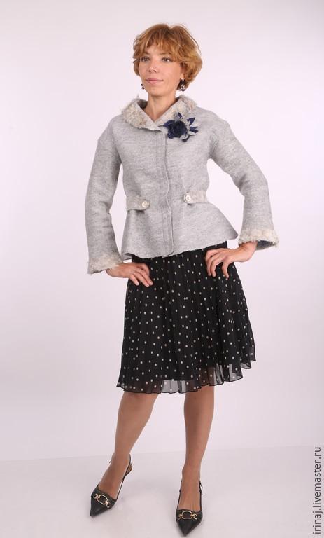 """Верхняя одежда ручной работы. Ярмарка Мастеров - ручная работа. Купить валяный жакет """"Light gray"""". Handmade. Белый, меринос"""
