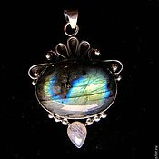 Украшения handmade. Livemaster - original item Pendant Oval with labradorite and moonstone.. Handmade.