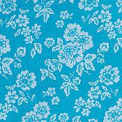 Материалы для творчества ручной работы. Ярмарка Мастеров - ручная работа Ткань Хлопок Цветы Крупные на бирюзово-голубом. Handmade.