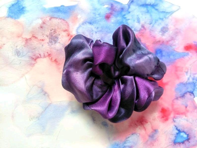 Шёлковая резинка для волос батик фиолетовая, Резинка для волос, Ярославль,  Фото №1