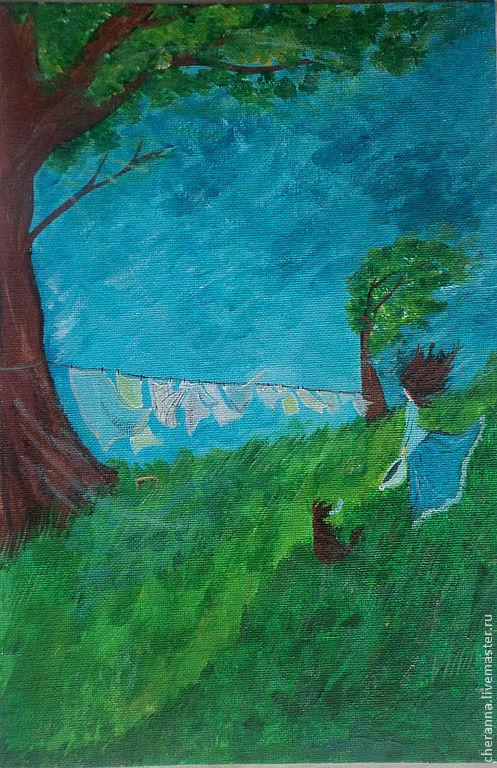 """Пейзаж ручной работы. Ярмарка Мастеров - ручная работа. Купить Картинка """"Все"""" (по мотивам). Handmade. Тёмно-бирюзовый, коричневый"""