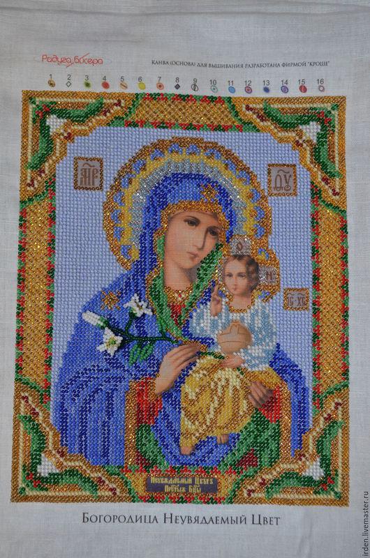 Иконы ручной работы. Ярмарка Мастеров - ручная работа. Купить Богородица Неувядаемый цвет. Handmade. Голубой, икона, канва
