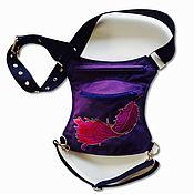 Сумки и аксессуары handmade. Livemaster - original item Hip bag textile purple with embroidery. Handmade.