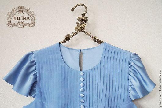 """Блузки ручной работы. Ярмарка Мастеров - ручная работа. Купить Блузка шелковая """"Голубка"""". Handmade. Голубой, блузка из шелка"""