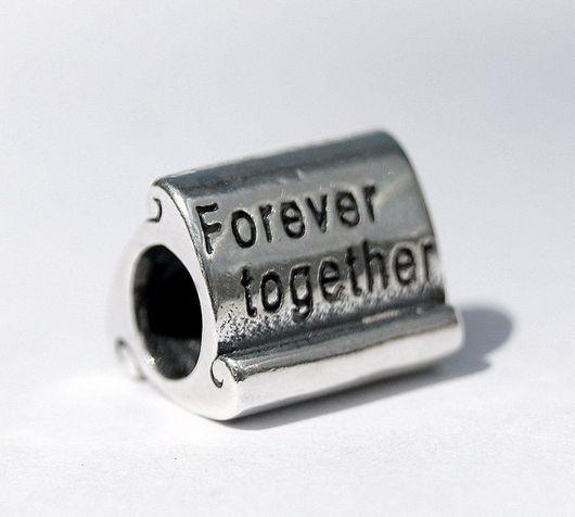 Для украшений ручной работы. Ярмарка Мастеров - ручная работа. Купить Европейская шарм бусина для браслета серебро 925 Forever together. Handmade.