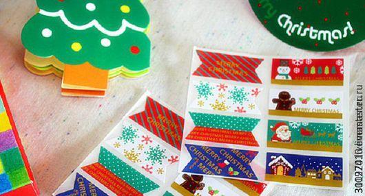 Упаковка ручной работы. Ярмарка Мастеров - ручная работа. Купить Новогодние наклейки. Лист - 8 шт.. Handmade. Комбинированный