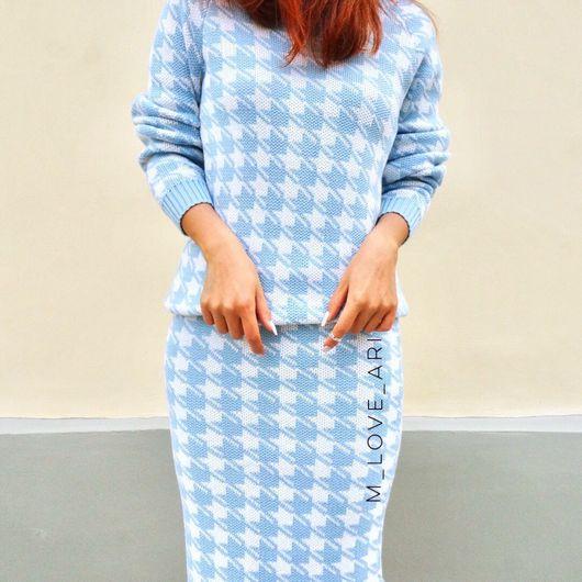 Костюмы ручной работы. Ярмарка Мастеров - ручная работа. Купить Голубой костюм Лапки из шерсти мериноса. Handmade. Гусиная лапка