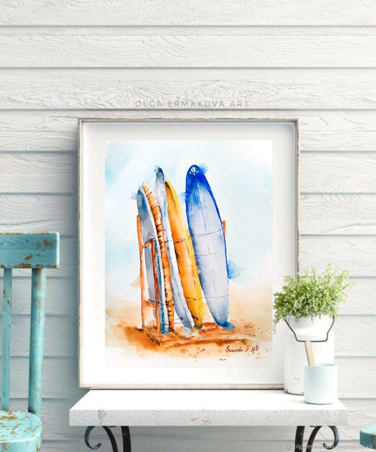 Painting with surfboards on the beach in blue watercolor, Pictures, Moscow,  Фото №1