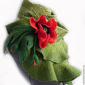 Аксессуары ручной работы. Ярмарка Мастеров - ручная работа валяный шарф Зелёный с маком. Handmade.