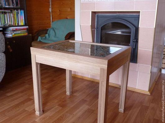 Мебель ручной работы. Ярмарка Мастеров - ручная работа. Купить Журнальный столик со столешницей из каспийской гальки. Handmade. Разноцветный