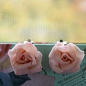 Украшения ручной работы. Ярмарка Мастеров - ручная работа Клипсы Нежные розы. Серьги  для ушей.Клипсы розы из полимерной глины. Handmade.