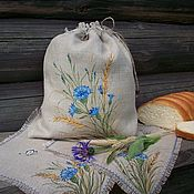Swipe handmade. Livemaster - original item Linen bag and swipe with painting.Cornflowers-Spikes. Handmade.