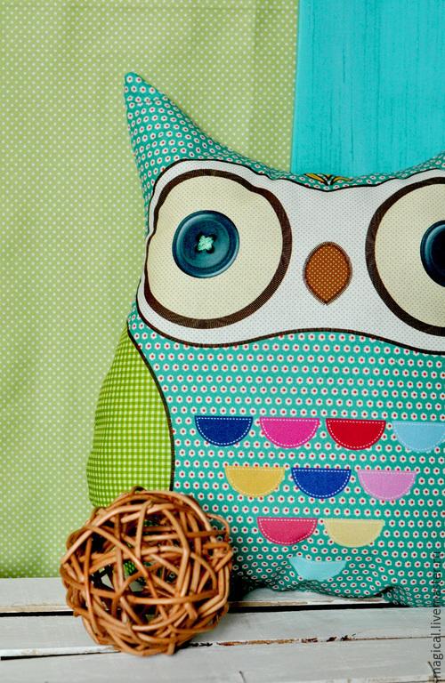 """Текстиль, ковры ручной работы. Ярмарка Мастеров - ручная работа. Купить Подушка-игрушка """" Совушка"""". Handmade. Разноцветный"""