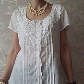 Одежда ручной работы. Ярмарка Мастеров - ручная работа белая блузка Дайна. Handmade.