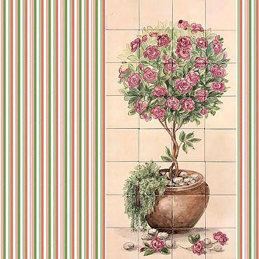 Diseño y publicidad manualidades. Livemaster - hecho a mano Painted tiles Rose tree Topiary. Handmade.