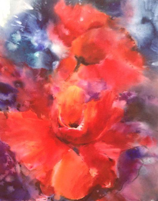 Картины цветов ручной работы. Ярмарка Мастеров - ручная работа. Купить Акварель Маки. Handmade. Маки, картина, цветы, яркий