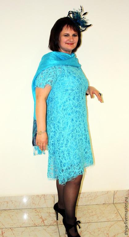 Платья ручной работы. Ярмарка Мастеров - ручная работа. Купить Платье Джаз. Handmade. Бирюзовый, ажурное платье