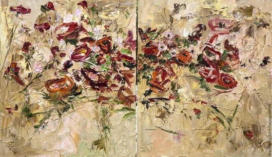 Диптих модульная золотая картина с цветами купить Питер патина холст заказать картину для гостиной художник Марина Маткина