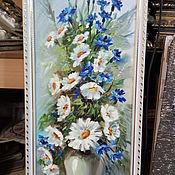 Картины и панно ручной работы. Ярмарка Мастеров - ручная работа Картина рисованная маслом Цветы, в багете 85х35см. Handmade.