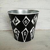 Цветы и флористика handmade. Livemaster - original item pots: Pots with painted. Black and white.. Handmade.