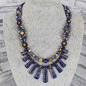 Украшения handmade. Livemaster - original item Necklace with pendants made of sodalite and jasper stones