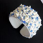 """Украшения ручной работы. Ярмарка Мастеров - ручная работа Широкий браслет """"Морской бриз-2"""" белый коралл. Handmade."""