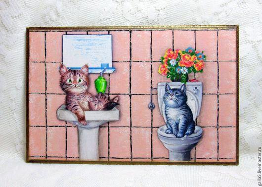 Ванная комната ручной работы. Ярмарка Мастеров - ручная работа. Купить Бирочка  на дверь ванно-туалетной комнаты.. Handmade. Розовый