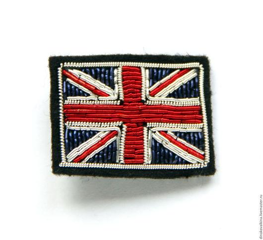 """Броши ручной работы. Ярмарка Мастеров - ручная работа. Купить Значок  """"Английский флаг"""" ручная вышивка .. Handmade. Разноцветный"""