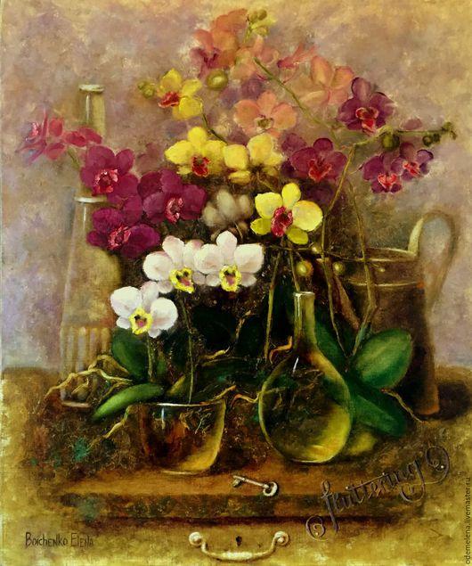 Картины цветов ручной работы. Ярмарка Мастеров - ручная работа. Купить Картина маслом на холсте Комнатные орхидеи 50х60. Handmade.