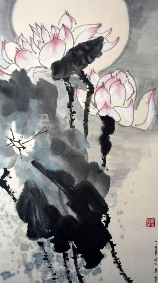 Картины цветов ручной работы. Ярмарка Мастеров - ручная работа. Купить картина на рисовой бумаге Ночь на лотосовом озере. Handmade.