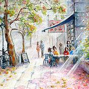 """Картины и панно ручной работы. Ярмарка Мастеров - ручная работа Картина маслом """"Кафе у парка"""" бесплатная доставка, 40х50 см. Handmade."""