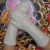 Аксессуары handmade. Livemaster - original item Mittens knitted feather with beads of goat down. Handmade.