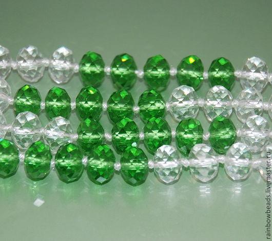 Для украшений ручной работы. Ярмарка Мастеров - ручная работа. Купить Бусины стеклянные. Рондели с огранкой Зеленые и прозрачные. Handmade.