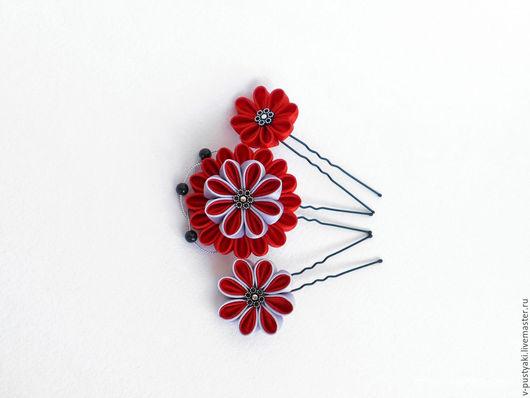 Свадебные украшения ручной работы. Ярмарка Мастеров - ручная работа. Купить Комплект шпилек для волос с красными цветами. Handmade.
