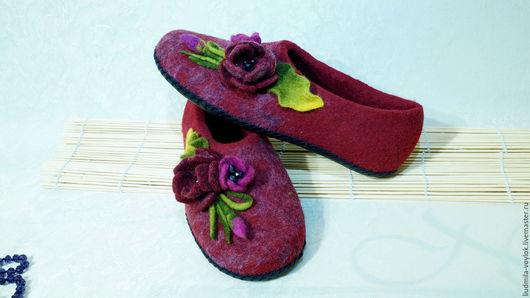 """Обувь ручной работы. Ярмарка Мастеров - ручная работа. Купить Валяные тапочки """"Седеющий закат"""". Handmade. Тапочки ручной работы"""