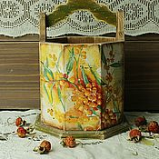 Короб деревянный Облепиха в стиле кантри, винтаж