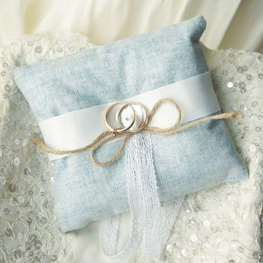 Свадебные аксессуары ручной работы. Ярмарка Мастеров - ручная работа. Купить Голубая свадебная подушечка для обручальных колец. Handmade. Голубой