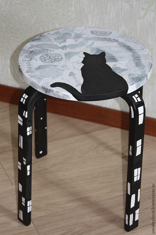 """Мебель ручной работы. Ярмарка Мастеров - ручная работа. Купить стул """"мечты кошки"""". Handmade. Стул, луна, чёрно-белый"""