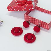 Украшения handmade. Livemaster - original item Felted earrings red. Handmade.