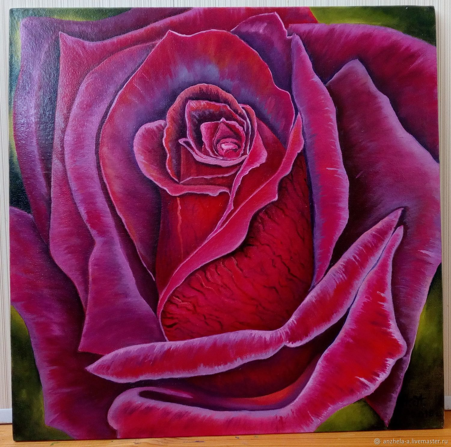 Painting with a maroon rose ' Velvet of a maroon rose', Pictures, Moscow,  Фото №1