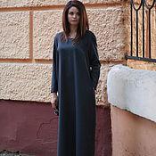 Одежда ручной работы. Ярмарка Мастеров - ручная работа Платье длинное платье шерсть платье синее платье в полоску. Handmade.