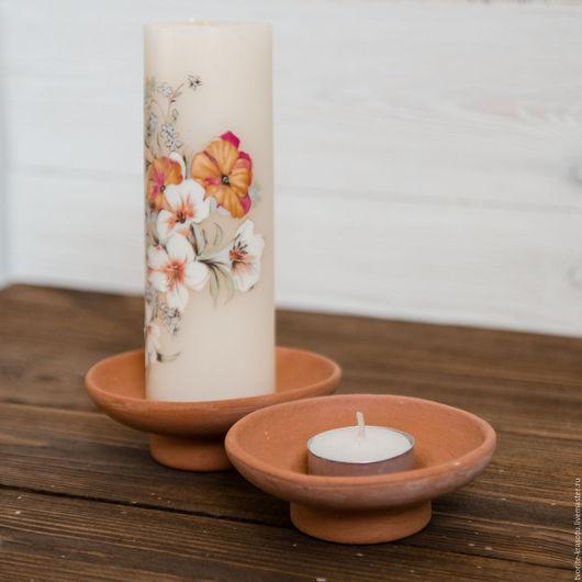 Подсвечники-тарелочки керамические, заготовка для декупажа и росписи. Подходят для свечей-гильз, свечей диаметром 5,5см.  для одноразовых восковых свечей ручной работы.