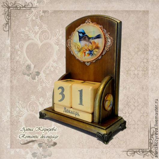 """Календари ручной работы. Ярмарка Мастеров - ручная работа. Купить Вечный календарь  """"Птица удачи"""" (на заказ). Handmade. Коричневый"""