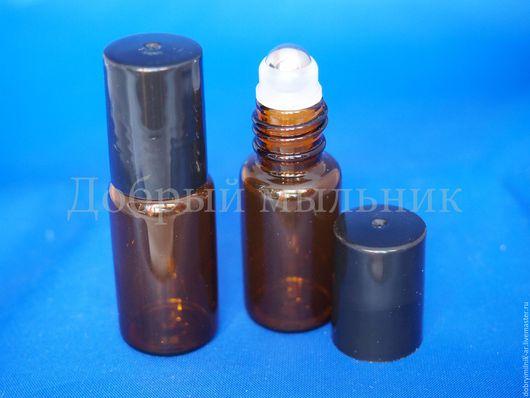 Стеклянный коричневый флакон с роликом
