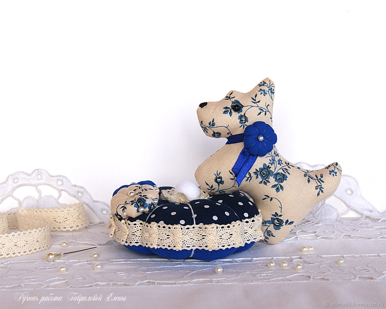 Dog. Interior decoration, needle box, blue, beige, Interior elements, Magnitogorsk,  Фото №1